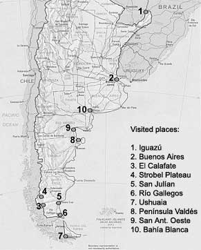 Sites visited in Argentina